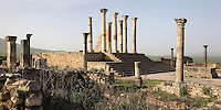 The Capitoline Temple, built 218 AD on the site of an earlier shrine, with an altar (right) in a courtyard in front of a 13-stepped platform with a tetrastyle Corinthian column temple, Volubilis, Northern Morocco. The temple was dedicated to Juno, Jupiter and Minerva and was the site of huge civic assemblies. It was reconstructed in 1955 and 1962. Volubilis was founded in the 3rd century BC by the Phoenicians and was a Roman settlement from the 1st century AD. Volubilis was a thriving Roman olive growing town until 280 AD and was settled until the 11th century. The buildings were largely destroyed by an earthquake in the 18th century and have since been excavated and partly restored. Volubilis was listed as a UNESCO World Heritage Site in 1997. Picture by Manuel Cohen