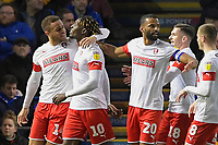 Freddie Ladapo of Rotherham United (10) celebrates scoring to make the score 1-1  during Portsmouth vs Rotherham United, Sky Bet EFL League 1 Football at Fratton Park on 26th November 2019