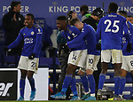 Kelechi Iheanacho of Leicester City celebrates scoring the winning goal against Everton with team mates during the Premier League match at the King Power Stadium, Leicester. Picture date: 1st December 2019. Picture credit should read: Darren Staples/Sportimage