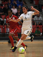 Dayna Manak in action during international women's futsal match between the NZ Futsal Ferns and New Caledonia at Baypark Arena in Mount Maunganui, New Zealand on Thursday, 14 September 2017. Photo: Dave Lintott / lintottphoto.co.nz