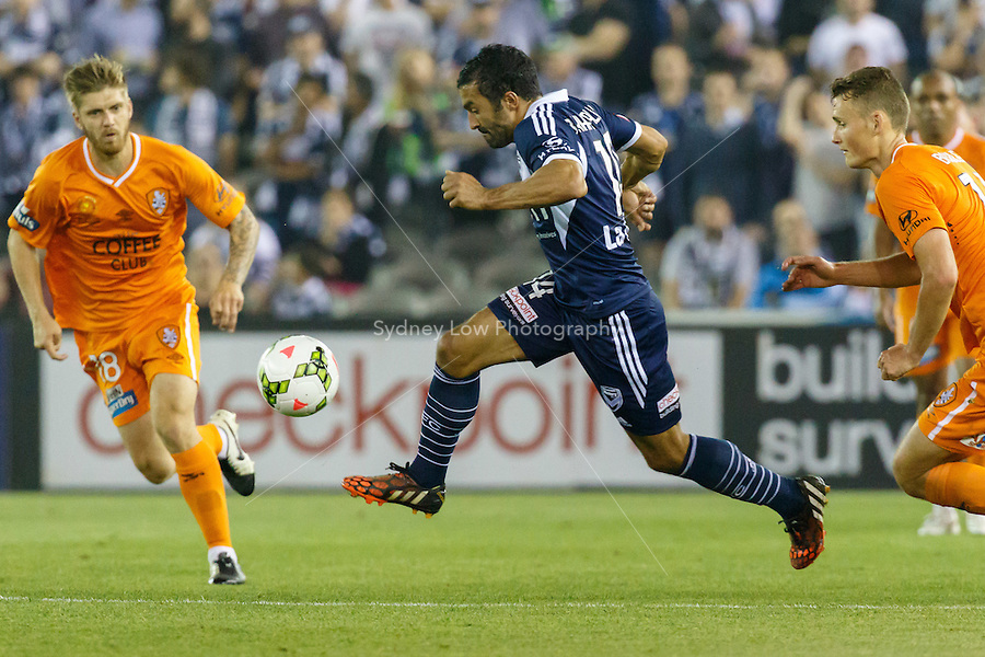 Fahid BEN KHALFALLAH of the Victory controls the ball in the round seven match between Melbourne Victory and Brisbane Roar in the Australian Hyundai A-League 2014-15 season at Etihad Stadium, Melbourne, Australia.