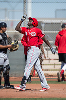 Cincinnati Reds right fielder Aristides Aquino (84) during a Minor League Spring Training game against the Chicago White Sox at the Cincinnati Reds Training Complex on March 28, 2018 in Goodyear, Arizona. (Zachary Lucy/Four Seam Images)