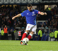 Lee McCulloch leads by example and scores with the opening penalty in the Rangers v Queen of the South Quarter Final match in the Ramsdens Cup played at Ibrox Stadium, Glasgow on 18.9.12.