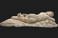 Marble statue of a sleeping Maenad (117-138 A.D.) in National Museum, Greece