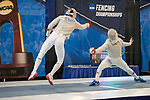 UNIVERSITY PARK, PA - MARCH 25: Ziad Elsissy of Wayne State University takes on Domenik Koch of Ohio State University during the semifinals of the  saber competition during the Division I Men's Fencing Championship held at the Multi-Sport Facility on the Penn State University campus on March 25, 2018 in University Park, Pennsylvania. (Photo by Doug Stroud/NCAA Photos via Getty Images)