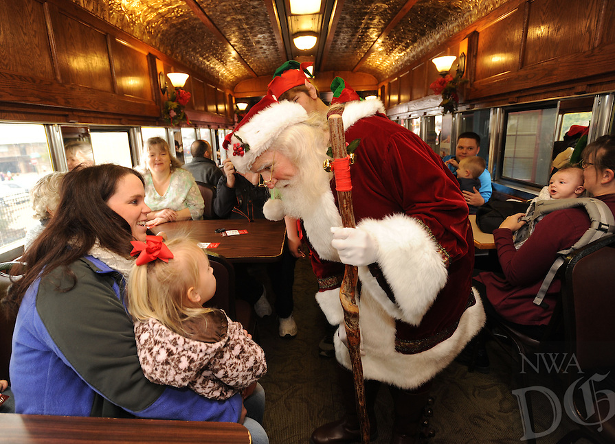 NWA Democrat-Gazette/ANDY SHUPE<br /> Saturday, Dec. 3, 2016, during the 13th annual Children's Christmas Train at the Arkansas &amp; Missouri Railroad depot in Springdale. The event serves as a fundraiser for the Children's Safety Center and features activities at the depot as well as a train ride with Santa Claus and his elves to Johnson and back.