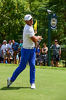 Brooks Koepka (USA) watches his tee shot on 11 during Sunday's final round of the PGA Championship at the Quail Hollow Club in Charlotte, North Carolina. 8/13/2017.<br /> Picture: Golffile | Ken Murray<br /> <br /> <br /> All photo usage must carry mandatory copyright credit (&copy; Golffile | Ken Murray)