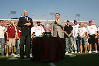 14 October 2006: Bob Bowlsby, the Jaquish and Kenninger Director of Athletics for Stanford University, celebrates the Director's Cup win during Stanford's 20-7 loss to Arizona during Homecoming at Stanford Stadium in Stanford, CA.
