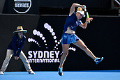 9th January 2018, Sydney Olympic Park Tennis Centre, Sydney, Australia; Sydney International Tennis, round 1; Daria Gavrilova (AUS)follows through on a forehand return in her match against Olivia Rogowska (AUS)