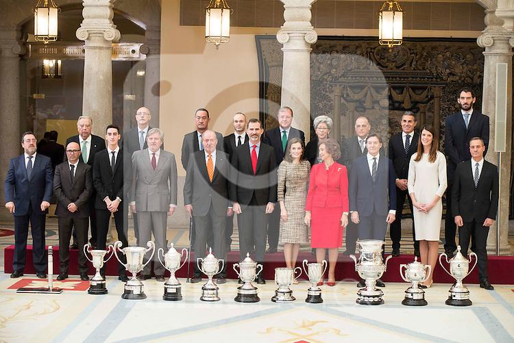 Sports minister Íñigo Méndez de Vigo, King Juan Carlos, King Felipe VI of Spain, Queen Letizia and Queen Sofia with all the winners attends to the National Sports Awards 2015 at El Pardo Palace in Madrid, Spain. January 23, 2017. (ALTERPHOTOS/BorjaB.Hojas)