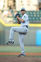 Lynchburg Hillcats starting pitcher Justin Garza (36) in action against the Winston-Salem Dash at BB&T Ballpark on May 3, 2018 in Winston-Salem, North Carolina. The Dash defeated the Hillcats 5-3. (Brian Westerholt/Four Seam Images)