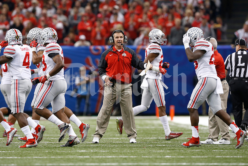 Ohio State Buckeyes head coach Urban Meyer sends his special teams unit on the field during the first quarter of the Allstate Sugar Bowl college football playoff semifinal against the Alabama Crimson Tide at the Mercedes-Benz Superdome in New Orleans on Jan. 1, 2015. (Adam Cairns / The Columbus Dispatch)