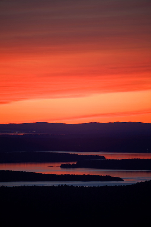 Sunset over Mt. Desert Island in Acadia National Park, Maine