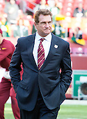 Legendary former Washington Redskins quarterback Joe Theismann (7) on the field prior to the NFC Wild Card game against the Green Bay Packers at FedEx Field in Landover, Maryland on Sunday, January 10, 2016.<br /> Credit: Ron Sachs / CNP