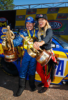 Apr 23, 2017; Baytown, TX, USA; NHRA top fuel driver Leah Pritchett (right) celebrates with funny car driver Ron Capps after winning the Springnationals at Royal Purple Raceway. Mandatory Credit: Mark J. Rebilas-USA TODAY Sports