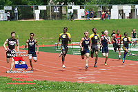 The Hazelwood Central trio (in Gray and Yellow) of Matt Quarells (left), Brandon Chunn (middle), and Marcus Davis (right), hit the half-way mark on their way to a 1-3-4 finish in the 400 meters at the Class 4 Sectional 2 meet, to all qualify for the State Championships. The trio teamed up with Justin Hall to capture the 4x400 title and will be a vital part of the Hawks team looking for their fourth straight Class 4 Boys title.