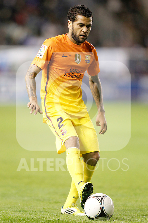 FC Barcelona's Dani Alves during Spanish King's Cup match.October 30,2012. (ALTERPHOTOS/Acero)