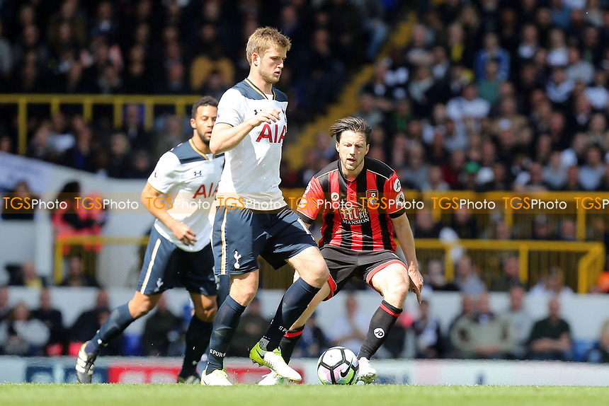 Eric Dier of Tottenham Hotspur and Harry Arter of Bournemouth during Tottenham Hotspur vs AFC Bournemouth, Premier League Football at White Hart Lane on 15th April 2017