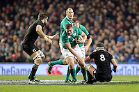 19th November 2016 | IRELAND vs NEW ZEALAND<br /> <br /> Tadhg Furlong knocks over Kieran Read during the Autumn Series International clash between Ireland and New Zealand at the Aviva Stadium, Lansdowne Road, Dublin,  Ireland. Photo by John Dickson/DICKSONDIGITAL