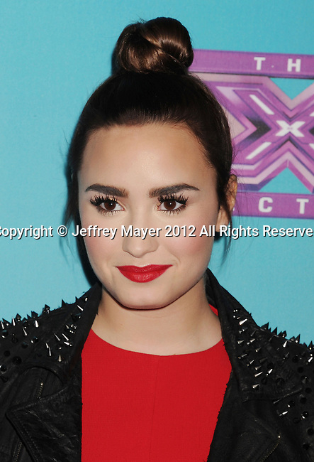 LOS ANGELES, CA - NOVEMBER 05: Demi Lovato arrives at FOX's 'The X Factor' finalists party at The Bazaar at the SLS Hotel Beverly Hills on November 5, 2012 in Los Angeles, California.