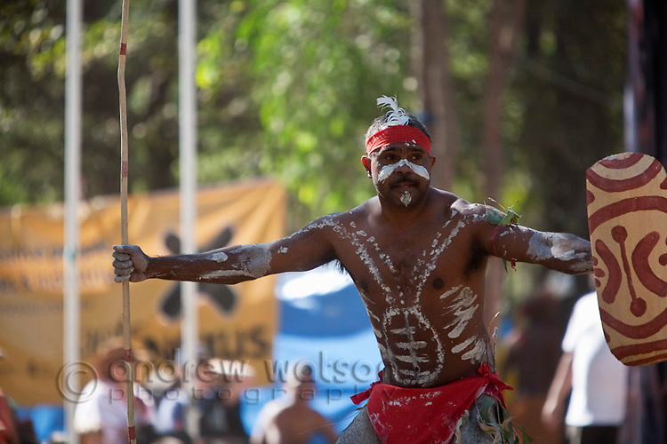 Indigenous dancer at the Laura Aboriginal Dance Festival.  Laura, Queensland, Australia