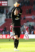 Burnley's Tom Heaton applauds the travelling support at the final whistle<br /> <br /> Photographer David Shipman/CameraSport<br /> <br /> The Premier League - Middlesbrough v Burnley - Saturday 8th April 2017 - Riverside Stadium - Middlesbrough<br /> <br /> World Copyright &copy; 2017 CameraSport. All rights reserved. 43 Linden Ave. Countesthorpe. Leicester. England. LE8 5PG - Tel: +44 (0) 116 277 4147 - admin@camerasport.com - www.camerasport.com