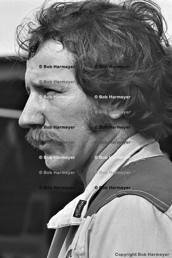 DAYTONA BEACH, FL - FEBRUARY 15: Dale Earnhardt in the garage area before practice for the Daytona 500 on February 15, 1981, at the Daytona International Speedway in Daytona Beach, Florida.