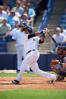 New York Yankees second baseman Starlin Castro (14) at bat during a Spring Training game against the Detroit Tigers on March 2, 2016 at George M. Steinbrenner Field in Tampa, Florida.  New York defeated Detroit 10-9.  (Mike Janes/Four Seam Images)