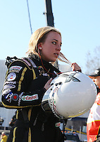 Feb. 14, 2013; Pomona, CA, USA; NHRA top fuel dragster driver Brittany Force during qualifying for the Winternationals at Auto Club Raceway at Pomona.. Mandatory Credit: Mark J. Rebilas-