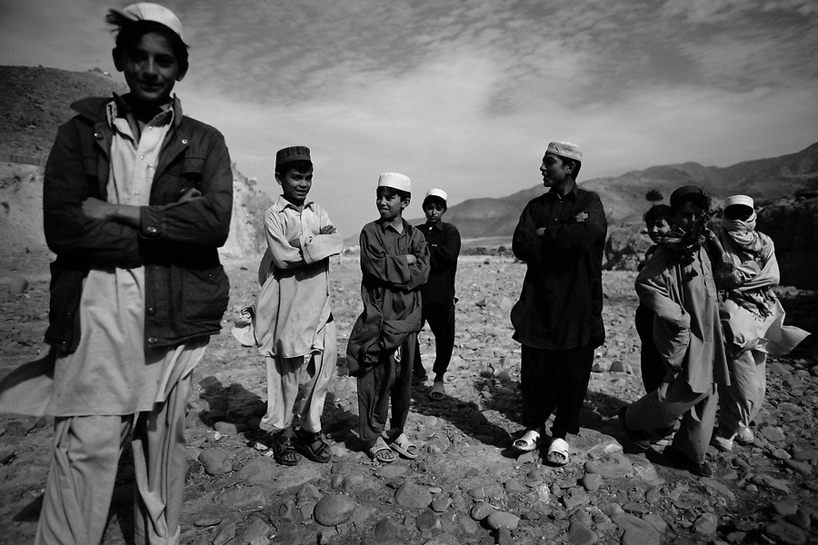 Young boys from a Pashtun tribe near the Afghan-Pak border on Monday October 27, 2008.