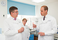 17 May 2016 - London, England - Prince William Duke of Cambridge (right) speaks to Consultant Medical Oncologist Professor Stephen Johston (left), during a visit to the Royal Marsden NHS Foundation Trust, in Chelsea, west London, as he marks the opening of the hospital's new centre for breast cancer research named after the fashion designer Ralph Lauren. The Ralph Lauren Centre for Breast Cancer Research was funded by supporters of the Royal Marsden Cancer Charity, including a generous donation from the designer. William has a long association with the hospital, he became the Royal Marsden's president in 2007, following in the footsteps of his mother Diana, Princess of Wales, who held the same position from 1989 until her death in 1997. Photo Credit: ALPR/AdMedia