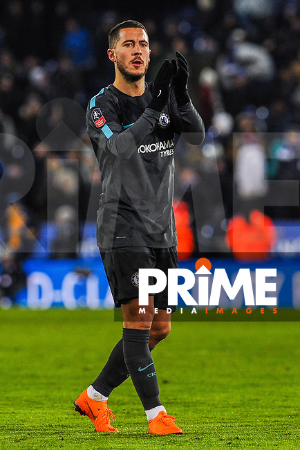 Chelsea's Eden Hazard clapping the Chelsea fans during the FA Cup QF match between Leicester City and Chelsea at the King Power Stadium, Leicester, England on 18 March 2018. Photo by Stephen Buckley / PRiME Media Images.
