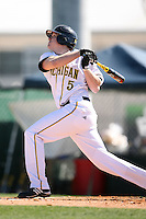 February 20, 2009:  Catcher Jake McLouth (5) of the University of Michigan during the Big East-Big Ten Challenge at Jack Russell Stadium in Clearwater, FL.  Photo by:  Mike Janes/Four Seam Images