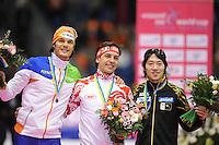 SCHAATSEN: HEERENVEEN: Thialf, Essent ISU World Cup, 02-03-2012, Podium 500m Men, Hein Otterspeer (NED), Dmitry Lobkov (RUS), Keiichiro Nagashima (JPN), ©foto: Martin de Jong
