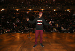 """Host Bryan Terrell Clark during The Rockefeller Foundation and The Gilder Lehrman Institute of American History sponsored High School student #EduHam matinee performance of """"Hamilton"""" at the Richard Rodgers Theatre on October 24, 2018 in New York City."""