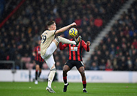 2nd November 2019; Vitality Stadium, Bournemouth, Dorset, England; English Premier League Football, Bournemouth Athletic versus Manchester United; Scott McTominay of Manchester United controls the ball under pressure from Jefferson Lerma of Bournemouth - Strictly Editorial Use Only. No use with unauthorized audio, video, data, fixture lists, club/league logos or 'live' services. Online in-match use limited to 120 images, no video emulation. No use in betting, games or single club/league/player publications
