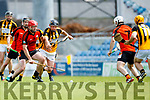 Brian O'Leary Abbeydorney in action against Thomas Casey Ballyheigue in the Kerry County Hurling Championship at Austin Stack Park Tralee on Sunday.