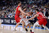 Real Madrid's Sergio Llull and Crvena Zvezda Mts Belgrade's Ognjen Kuzmic and Nemanja Dangubic during Turkish Airlines Euroleague match between Real Madrid and Crvena Zvezda Mts Belgrade at Wizink Center in Madrid, Spain. March 10, 2017. (ALTERPHOTOS/BorjaB.Hojas) /NortePhoto.com