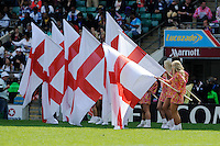 Cheerleaders welcome the England team onto the pitch during the iRB Marriott London Sevens at Twickenham on Sunday 13th May 2012 (Photo by Rob Munro)