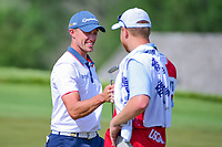 Tyler Light (USA) fist bumps his caddie after his birdie on 6 during Saturday's round 3 of the 117th U.S. Open, at Erin Hills, Erin, Wisconsin. 6/17/2017.<br /> Picture: Golffile | Ken Murray<br /> <br /> <br /> All photo usage must carry mandatory copyright credit (&copy; Golffile | Ken Murray)