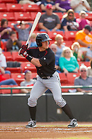 Josh Richmond (13) of the Kannapolis Intimidators at bat against the Hickory Crawdads at L.P. Frans Stadium on May 25, 2013 in Hickory, North Carolina.  The Crawdads defeated the Intimidators 14-3.  (Brian Westerholt/Four Seam Images)