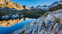 Heart  Lake wiht reflections, John Muir Wilderness, Sierra Nevada Mountains, California