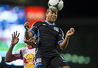 March 10th, 2013: Jason Hernandez heads the ball out during a game against Red Bulls at Buck Shaw Stadium, Santa Clara, Ca.   Earthquakes defeated Red Bulls 2-1