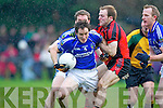 Club passion: Darran O'Sullivan Glenbeigh/Glencar and Laune Rangers captain Pa Sheahan fight for possession during the Mid Kerry Championship final in Beaufort on Saturday