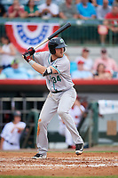 Daytona Tortugas third baseman Mitch Nay (34) at bat during a game against the Florida Fire Frogs on April 7, 2018 at Osceola County Stadium in Kissimmee, Florida.  Daytona defeated Florida 4-3 in a six inning rain shortened game.  (Mike Janes/Four Seam Images)