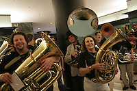 NEW YORK - JUNE 4: Musicians perform during The Bang On A Can Marathon 2006 at the World Financial Center, on Sunday, June 4, 2006  in downtown New York City. (Photo by Landon Nordeman.)