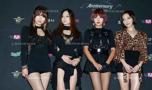 "Brown Eyed Girls, Jul 24, 2014 : South Korean girl group Brown Eyed Girls, attend a photo call before the 10th anniversary live special of weekly music chart show, ""M! Countdown"" of Mnet in Goyang, north of Seoul, South Korea. (Photo by Lee Jae-Won/AFLO) (SOUTH KOREA)"