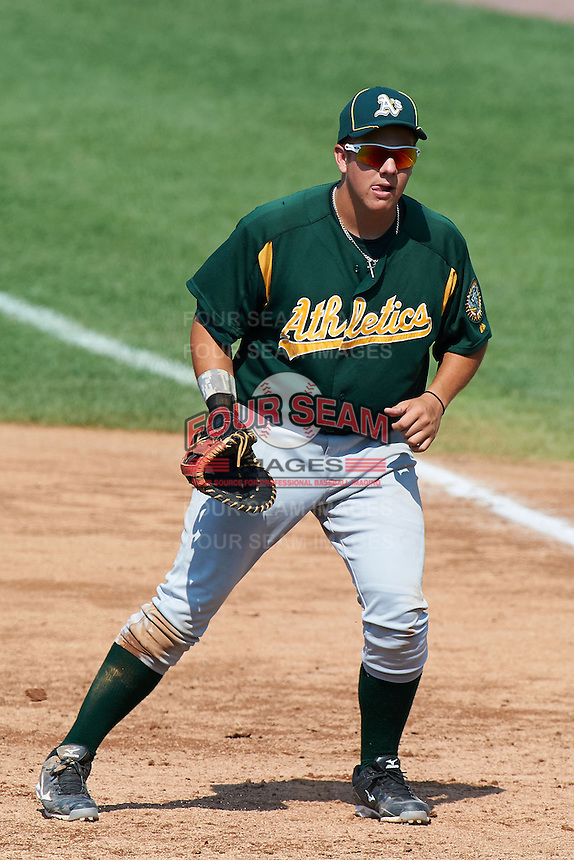 Nicholas Yarnall #40 of Hempfield High School in Landisville, Pennsylvania playing for the Oakland Athletics scout team during the East Coast Pro Showcase at Alliance Bank Stadium on August 3, 2012 in Syracuse, New York.  (Mike Janes/Four Seam Images)