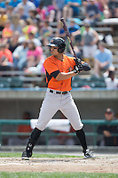 Brenden Webb (2) of the Frederick Keys at bat against the Lynchburg Hillcats at Calvin Falwell Field at Lynchburg City Stadium on May 14, 2015 in Lynchburg, Virginia.  The Hillcats defeated the Keys 6-3.  (Brian Westerholt/Four Seam Images)