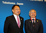May 5, 2017, Yokohama, Japan -  Bank of Japan Governor Haruhiko Kuroda (R) chats with South Korean Finance Minister Yoo Il-ho (L) before starting the Japan, China and South Korea trilateral finance ministers and central bank governor's meering during the Asian Development Bank (ADB) annual meeting in Yokohama, suburban Tokyo on Friday, May 5, 2017. ADB started a four-day session for its annual meeting to celebrate the 50th anniversary of the ADB.   (Photo by Yoshio Tsunoda/AFLO) LwX -ytd-